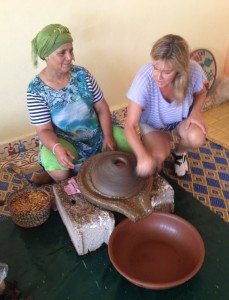 Melanee learning about argan oil production in Morocco