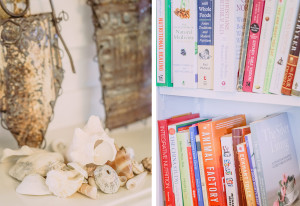 Seashells and books on shelves