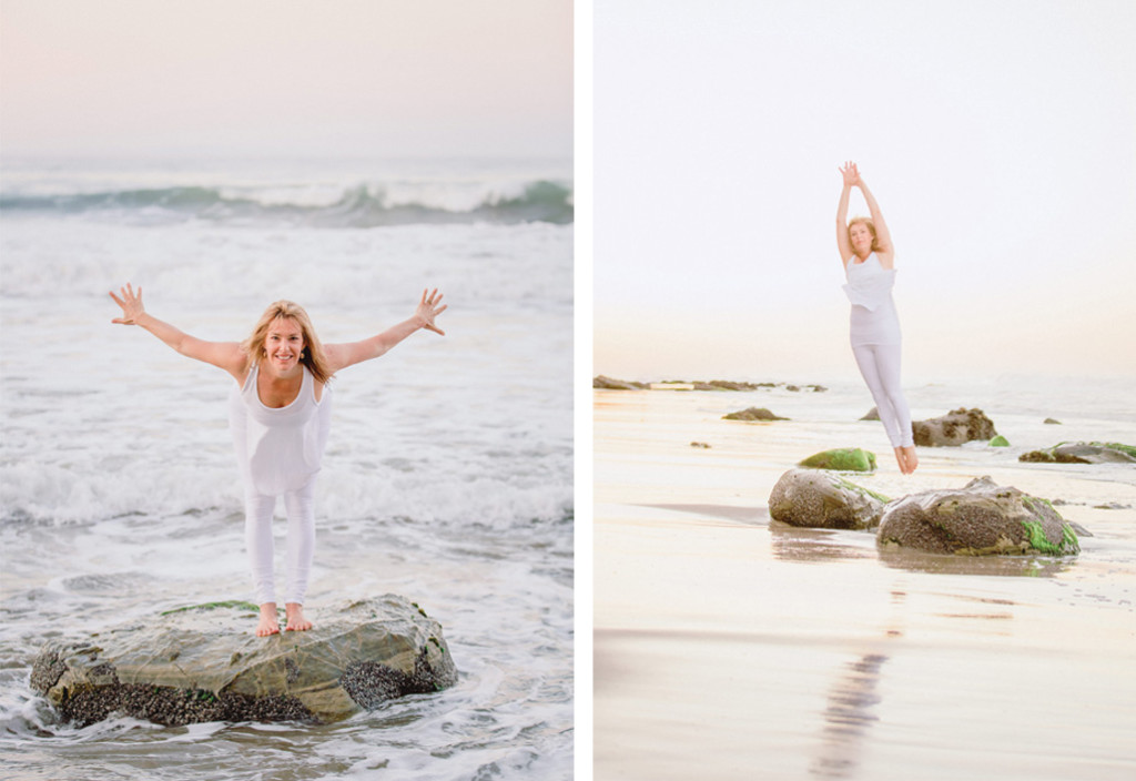 Melanee standing in yoga poses on the beach
