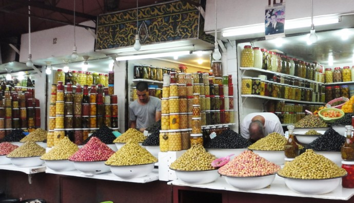 A lot of different olives at a Moroccan market