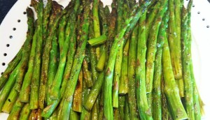A bunch of grilled asparagus