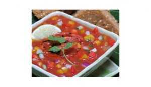 Vegetable Gazpacho soup in a square bowl