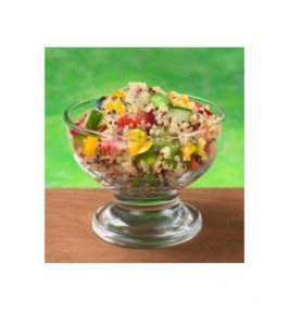 Vegetable quinoa salad in a glass bowl