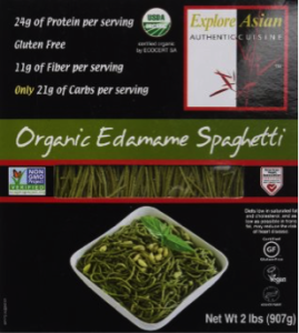 The cover of the Organic Edamame Spaghetti package