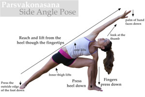 A woman standing in the Extended Side Angle Pose in yoga