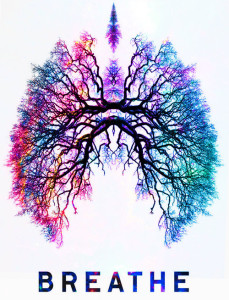 """An illustration of lungs, saying """"Breathe"""""""