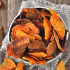 Baked sweet potato chips in a bowl