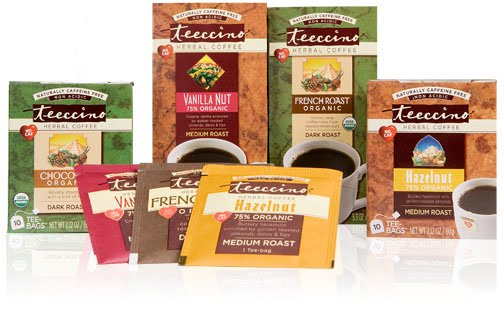 Different packages of Teecino Herbal Coffee
