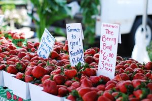 Strawberries at a Farmers Market