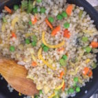 Cooked Miracle Rice in a pan