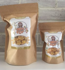 Two labeled bags of Hippy Pop Truffle Herb