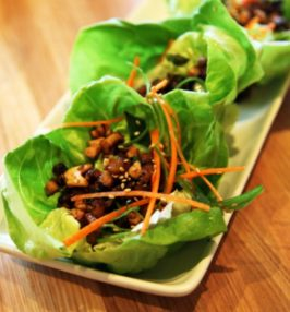 Mushroom lettuce cups on a white plate